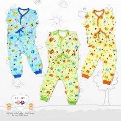 Libby - 3Set Setelan Baju Panjang SML Kecil (Kancing Depan) - Colorfull Bear