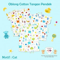 Libby - 3Pcs Oblong Cotton Motif - Cat SML Kecil