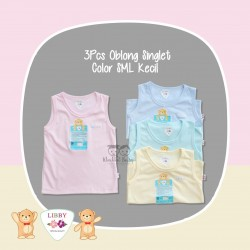 Libby - 3Pcs Oblong Singlet - Color SML Kecil