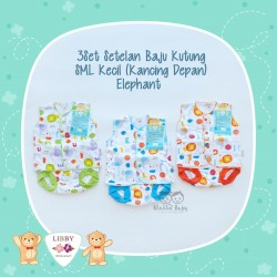 Libby - 3Set Setelan Baju Kutung Newborn (Kancing Depan) - Elephant