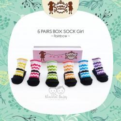 Petite Mimi - 6Pairs Box Sock Girls - Rainbow