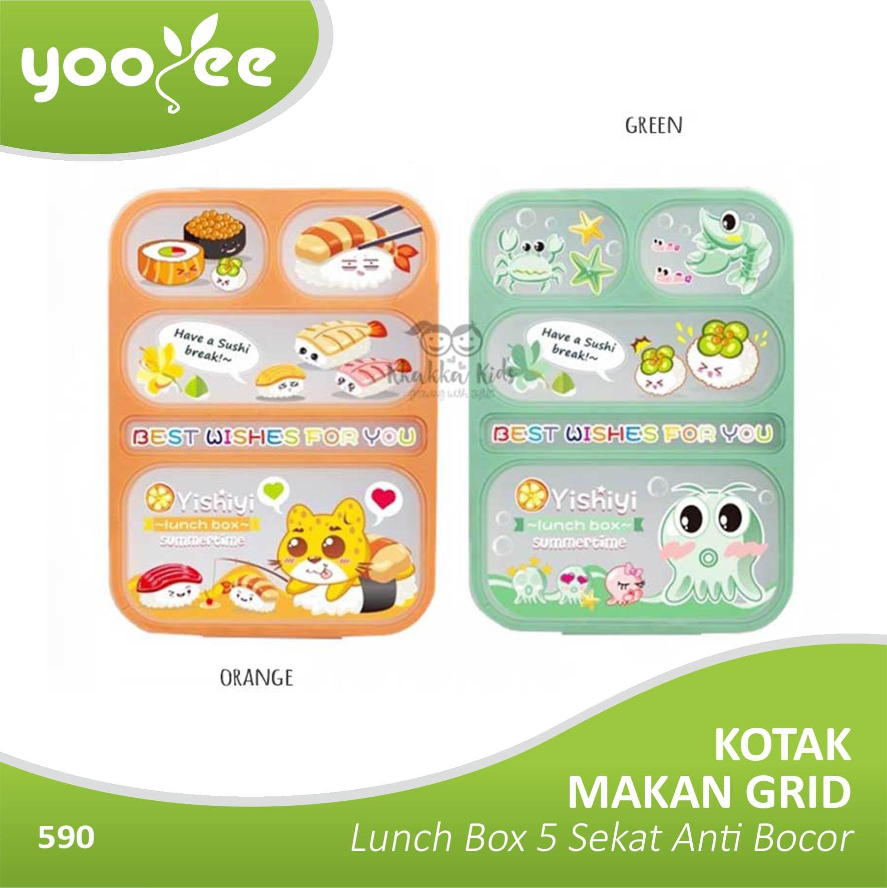 Yooyee Kotak Makan Grid Bento Lunch Box 5 Sekat Anti Bocorleak Proof Kkakkakids Kkakkababy