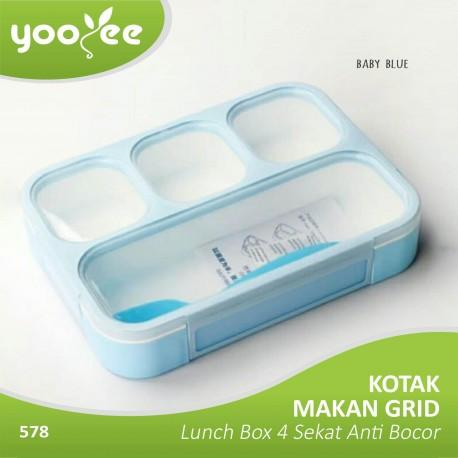 Yooyee - Kotak Makan Grid Bento Lunch Box 4 Sekat Anti Bocor(Leak Proof)