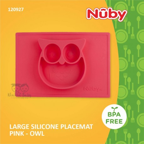 Nuby - Large Silicone Placemat Pink - Owl (120927)
