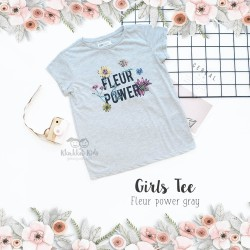 Girl's Tee - Fleur Power Gray