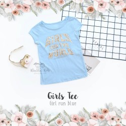 Girl's Tee - Girl Run Blue