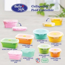 Baby Safe - Silicone Collapsible Food Container Round 600ML SC04
