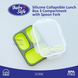 Baby Safe - Silicone Collapsible Lunch Box 3 Compartment with Spoon Fork SC006