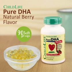 ChildLife - Pure DHA - Natural Berry Flavor - 90 Chewable Soft Gel Caps