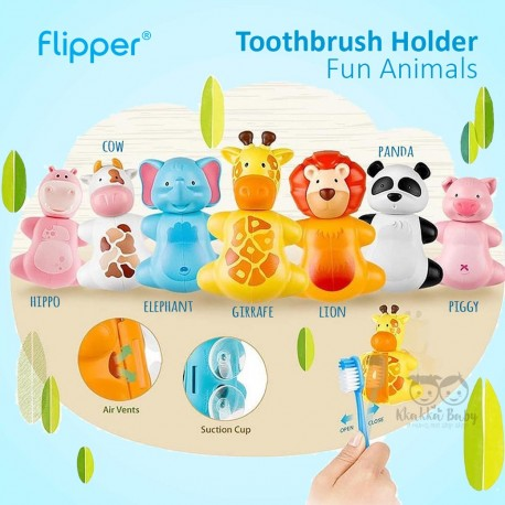 Flipper - Toothbrush Holder Fun Animals  - Hippo