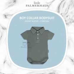 Little Palmerhaus - BoyCollar Bodysuit Short Sleeve (Jumper) - Charcoal