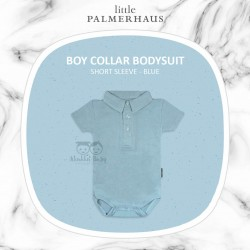 Little Palmerhaus - BoyCollar Bodysuit Short Sleeve (Jumper) - Blue