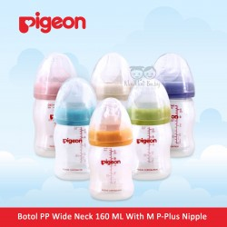 Pigeon - Botol PP Wide Neck 160 ML With M P-Plus Nipple