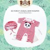 Petite Mimi - 3D Forest Animal Baby Romper - Panda Striped Red