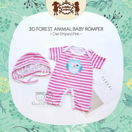Petite Mimi - 3D Forest Animal Baby Romper - Owl Striped Pink