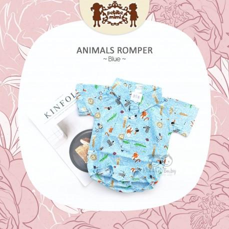 Petite Mimi - Animals Romper - Blue