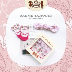 Petite Mimi - Sock and Headband Set - Flowers Pink