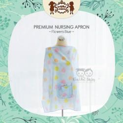 Petite Mimi - Premium Nursing Apron - Flowers Blue
