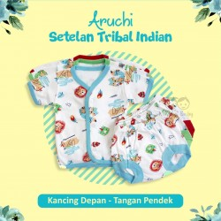 Aruchi - 3Set Setelan Tribal Indian - Kancing Depan - Tangan Pendek [3Set]