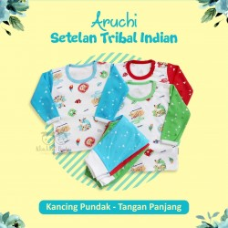 Aruchi - 3Set Setelan Tribal Indian - Kancing Pundak - Tangan Panjang [3Set]