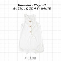 Bohobaby - Sleeveless Playsuit 6-12M, 1Y, 2Y - White