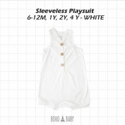 Bohobaby - Sleeveless Playsuit 3Y, 4Y - White