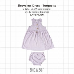 Bohobaby - Sleeveless Dress 3Y, 4Y (Without Bloomer) - Pacific Blue