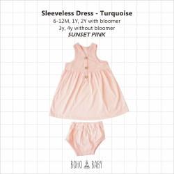 Bohobaby - Sleeveless Dress 3Y, 4Y (Without Bloomer) - Sunset Pink