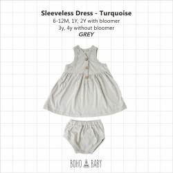 Bohobaby - Sleeveless Dress 3Y, 4Y (Without Bloomer) - Gray