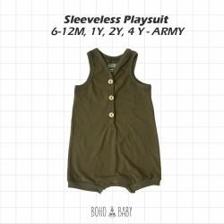 Bohobaby - Sleeveless Playsuit 3Y, 4Y - Army
