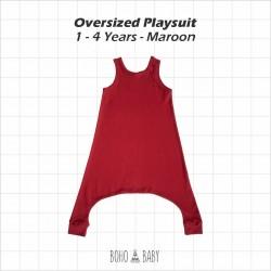 Bohobaby - Oversized Playsuit 3Y,4Y - Maroon