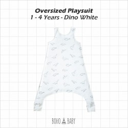 Bohobaby - Oversized Playsuit 3Y,4Y - Dino White