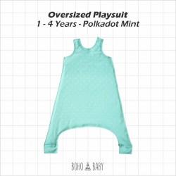 Bohobaby - Oversized Playsuit 1Y,2Y - Polkadot Mint