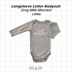 Bohobaby - Longsleeve Letter Bodysuit - Gray Milk Monster [Long]