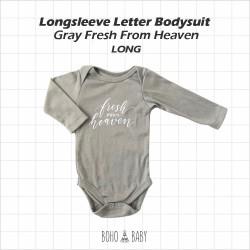 Bohobaby - Longsleeve Letter Bodysuit - Gray Fresh From Heaven [Long]