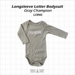 Bohobaby - Longsleeve Letter Bodysuit - Gray Champion [Long]