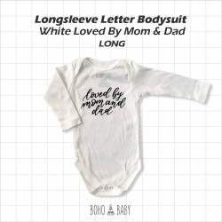 Bohobaby - Longsleeve Letter Bodysuit - White Love By Mom And Dad [Long]