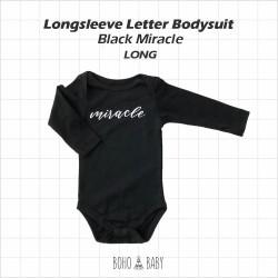 Bohobaby - Longsleeve Letter Bodysuit - Black Miracle [Long]