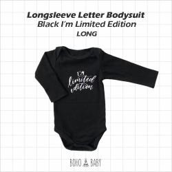 Bohobaby - Longsleeve Letter Bodysuit - Black I'M Limited Edition [Long]