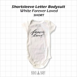Bohobaby - Shortsleeve Letter Bodysuit - White Forever Loved [Short]
