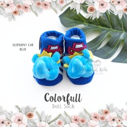 Colorfull Doll Sock - Elephant Car Blue