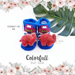 Colorfull Doll Sock - Elephant Cat Red