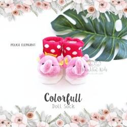 Colorfull Doll Sock - Polka Elephant