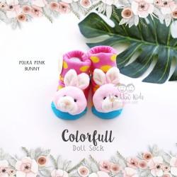 Colorfull Doll Sock - Polka Pink Bunny