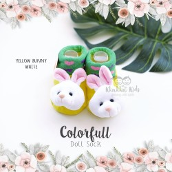 Colorfull Doll Sock - Yellow Bunny White