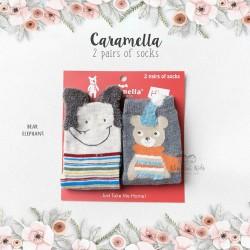 Caramella 2 Pairs Of Socks - Bear Elephant