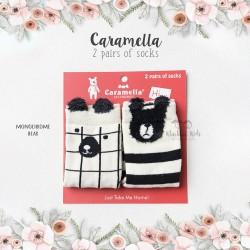 Caramella 2 Pairs Of Socks - Monochrome Bear