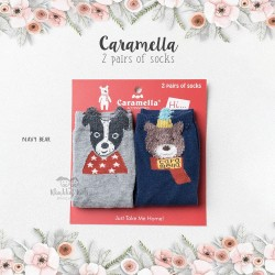 Caramella 2 Pairs Of Socks - Navy Bear