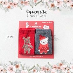 Caramella 2 Pairs Of Socks - Red Bear