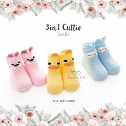 3 in 1 Cuttie Socks - Duck and friends